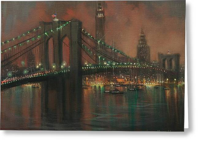 City Lights Greeting Cards - The Brooklyn Bridge Greeting Card by Tom Shropshire