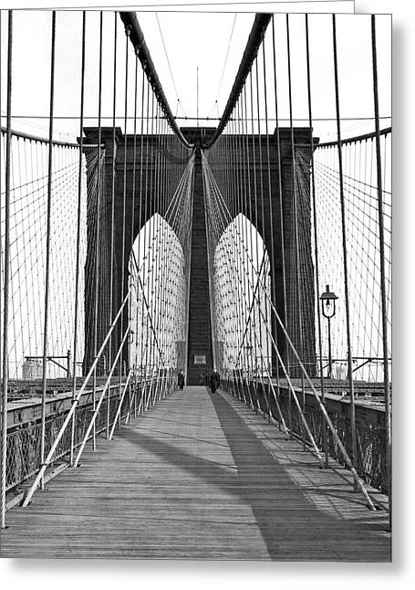The Brooklyn Bridge Greeting Card by Underwood Archives