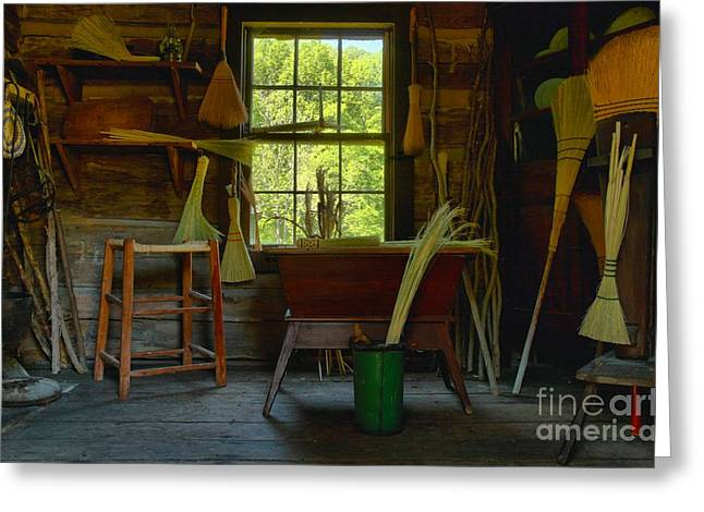 Spring Mill Greeting Cards - The Broom Room Greeting Card by Adam Jewell