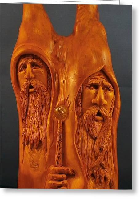 Woodcarving Sculptures Greeting Cards - The Brothers Wizard Greeting Card by Russell Ellingsworth