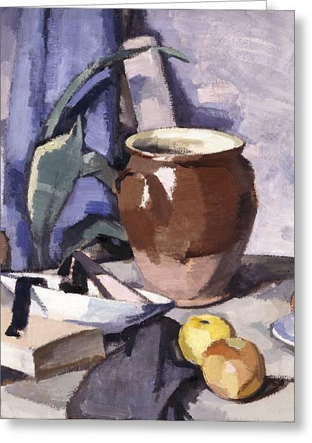 Ceramic Paintings Greeting Cards - The Brown Crock Greeting Card by Samuel John Peploe