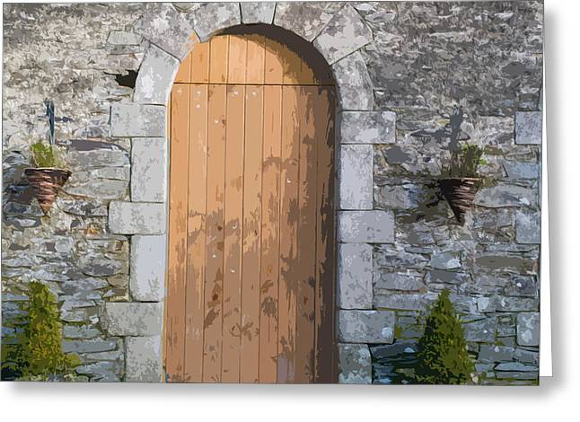 The Brown Door Greeting Card by Dave Byrne