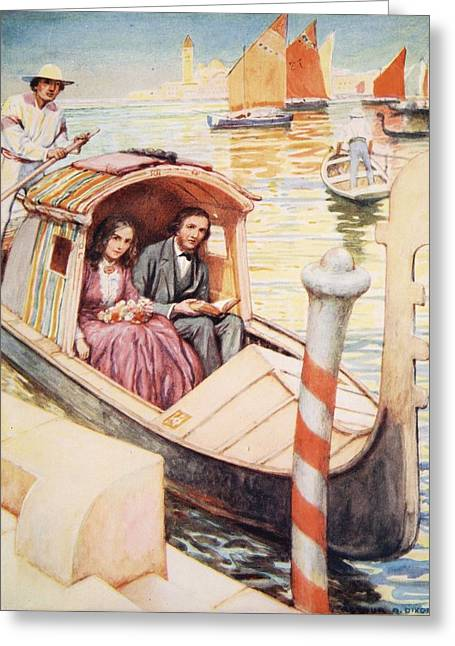 Poet Drawings Greeting Cards - The Brownings In Venice Greeting Card by Arthur A. Dixon