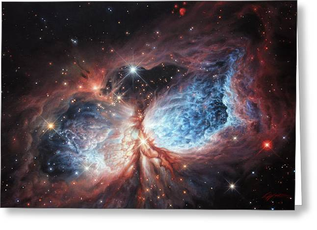 The Universe Paintings Greeting Cards - The Brush Strokes of Star Birth Greeting Card by Lucy West