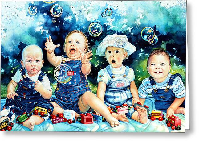 Kids Artist Greeting Cards - The Bubble Gang Greeting Card by Hanne Lore Koehler