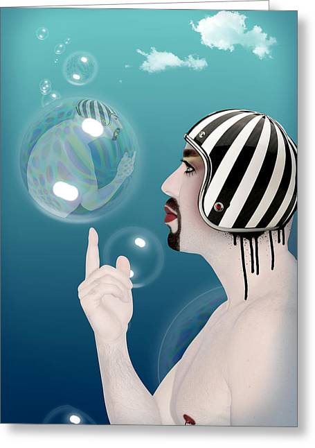 Funny Cartoon Digital Art Greeting Cards - the Bubble man Greeting Card by Mark Ashkenazi