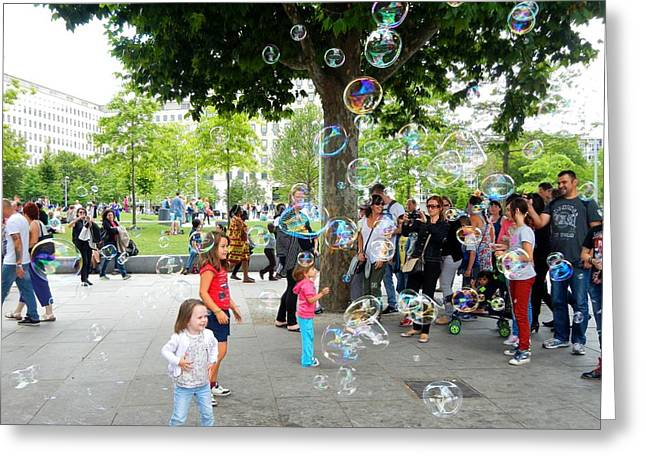 Londoners Greeting Cards - The Bubbles Day Greeting Card by Loreta Mickiene