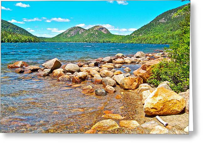Pond In Park Greeting Cards - The Bubbles over Jordan Pond in Acadia National Park-Maine Greeting Card by Ruth Hager