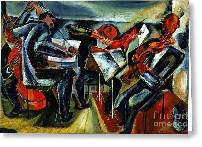 Quartet Paintings Greeting Cards - The Budapest String Quartet Greeting Card by Pg Reproductions