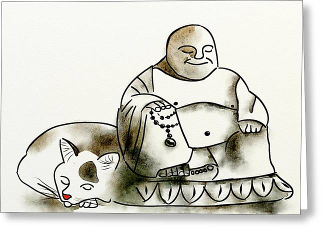 Buddha Sketch Greeting Cards - The Buddha and the Cat Greeting Card by Brett Shand