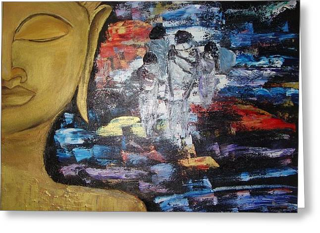 Etc. Paintings Greeting Cards - The BUDDHA WAY Greeting Card by Meenakshi Chatterjee