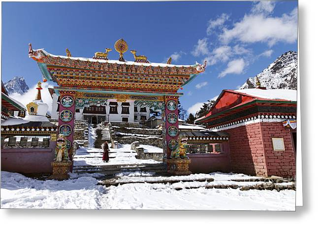 Buddhist Region Greeting Cards - The buddhist Tengboche Monastery in the Everest Region of Nepal Greeting Card by Robert Preston