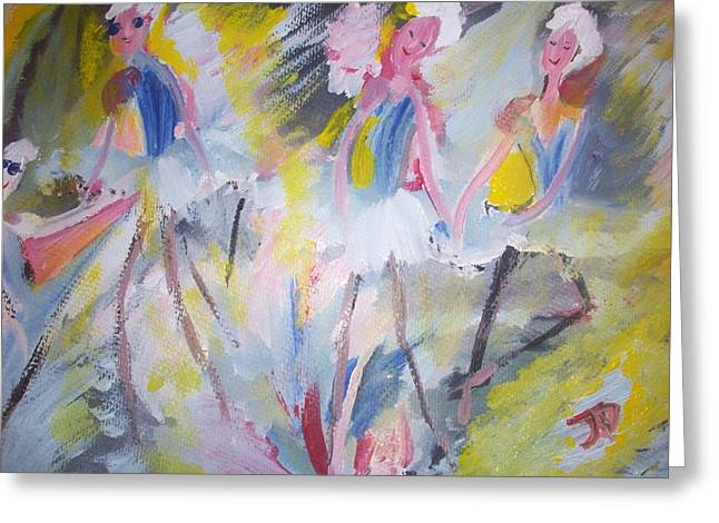 Budget Paintings Greeting Cards - The budget ballet company Greeting Card by Judith Desrosiers