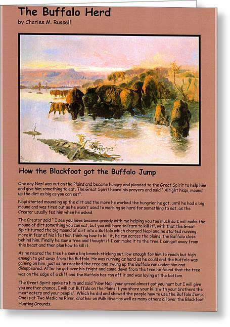 The American Buffalo Greeting Cards - The Buffalo Heard  Greeting Card by Charles Russell