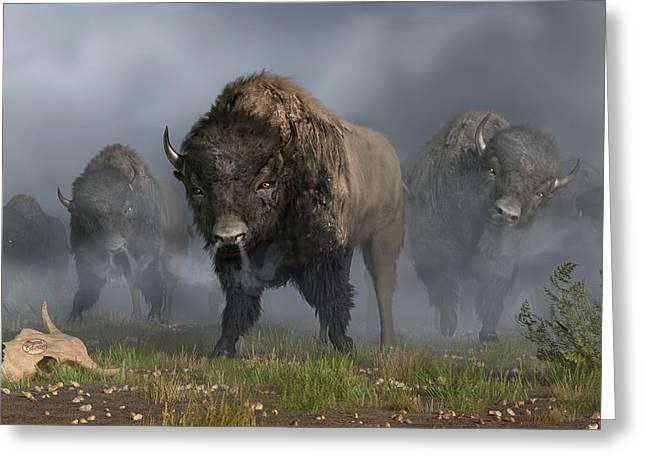 Buffalo Greeting Cards - The Buffalo Vanguard Greeting Card by Daniel Eskridge