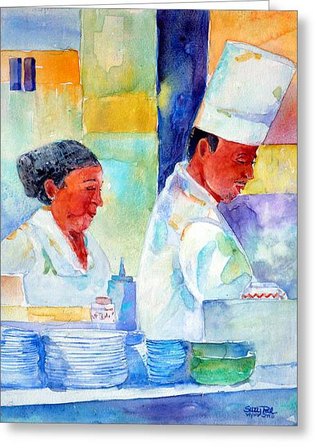 Waitress Paintings Greeting Cards - The Buffet Greeting Card by Suzy Pal Powell