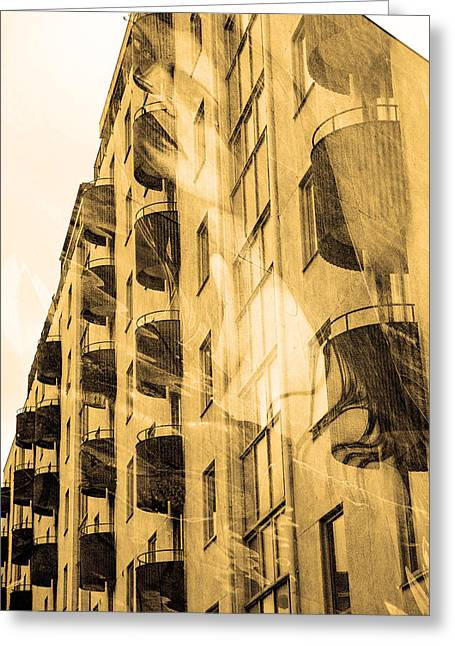 The Building And The Mystery Woman Greeting Card by Toppart Sweden