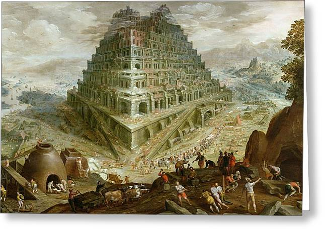 Ziggurat Greeting Cards - The Building Of The Tower Of Babel Greeting Card by Marten van Valckenborch