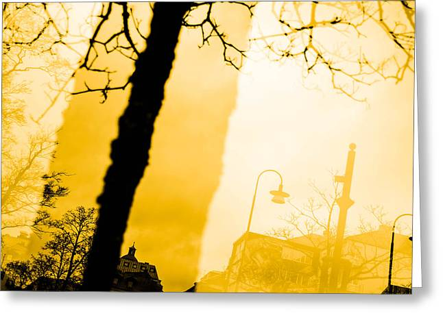 Streetlight Greeting Cards - The buildings Greeting Card by Toppart Sweden