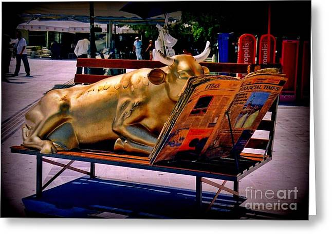 Halifax Photographers Greeting Cards - The Bull Takes a Break in Greece Greeting Card by John Malone