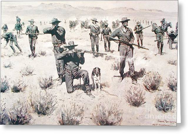 Remington Drawings Greeting Cards - The Bullets kicked up Dust Greeting Card by Pg Reproductions