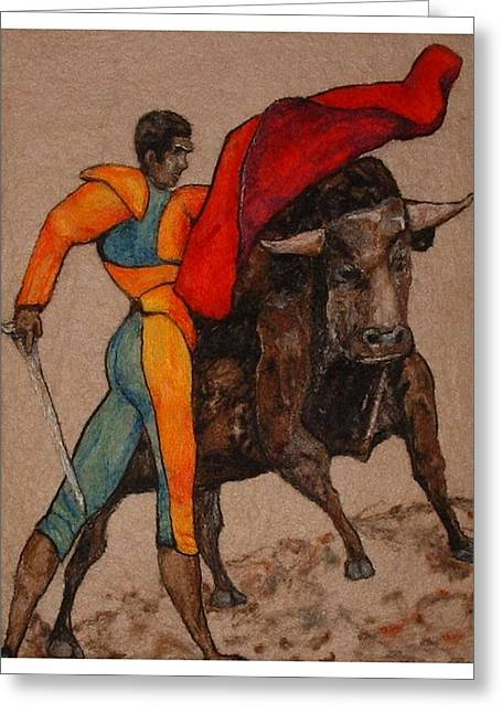 Actions Tapestries - Textiles Greeting Cards - The Bullfighter Greeting Card by Bonnie Nash