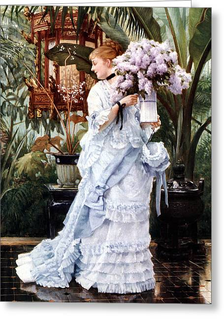 The Bunch Of Lilacs Greeting Card by James Jacques Joseph Tissot
