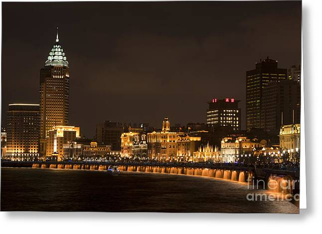 Night Lamp Greeting Cards - The Bund, Shanghai Greeting Card by John Shaw