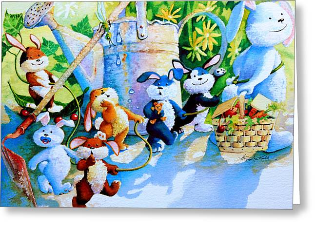 Baby Room Paintings Greeting Cards - The Bunny Trail Greeting Card by Hanne Lore Koehler