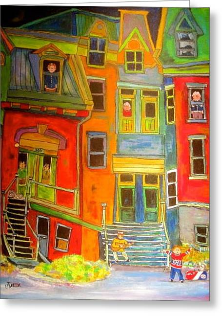Litvack Naive Greeting Cards - The Burko Apartments Greeting Card by Michael Litvack