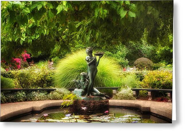Conservatory Garden Greeting Cards - The Burnett Fountain Greeting Card by Jessica Jenney