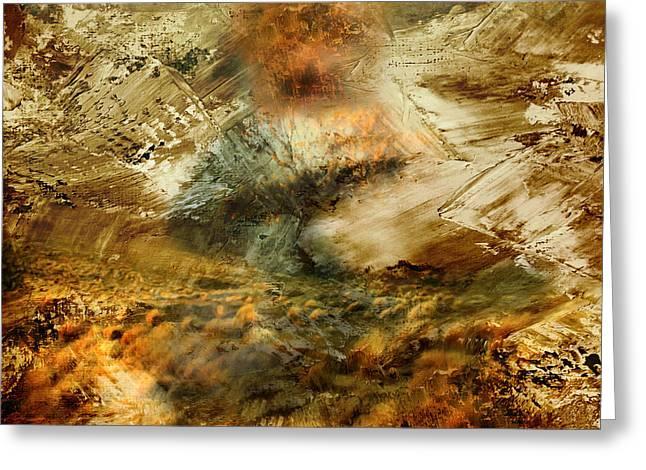 Burning Mixed Media Greeting Cards - The Burning Bush - Abstract Realism Greeting Card by Georgiana Romanovna