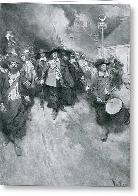 Drummers Photographs Greeting Cards - The Burning Of Jamestown, 1676, Illustration From Colonies And Nation By Woodrow Wilson, Pub Greeting Card by Howard Pyle