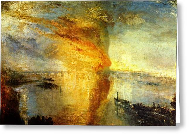 Best Sellers -  - Green And Yellow Abstract Greeting Cards - The Burning of the Houses of Lords and Commons Greeting Card by Joseph Mallord William Turner