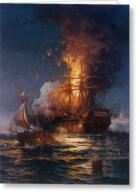Vintage Images Greeting Cards - The Burning of the Philadelphia Greeting Card by Edward Moran