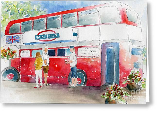 Bus Stop Greeting Cards - The Bus Stop Greeting Card by Pat Katz