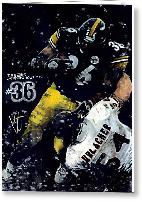 Jerome Bettis Greeting Cards - The Bus Greeting Card by William Western