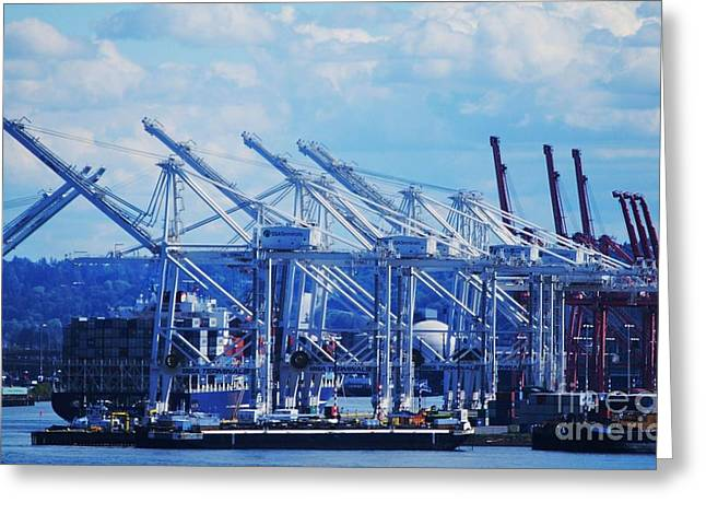 Seattle Waterfront Framed Prints Greeting Cards - The Business Of Seattle Greeting Card by Marcus Dagan