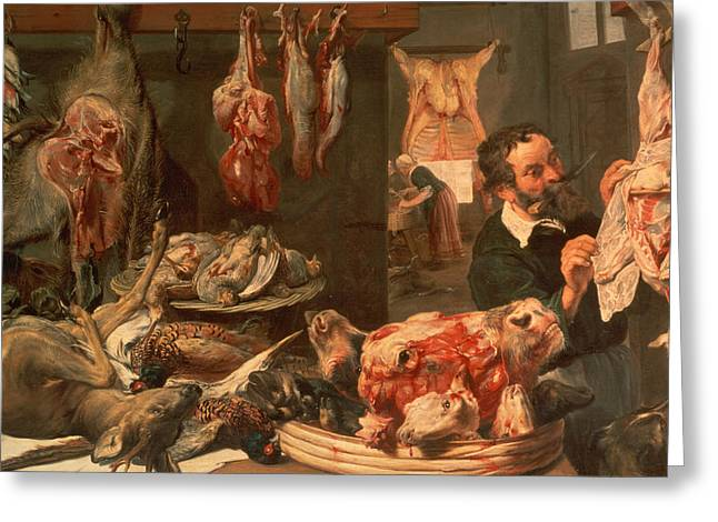 Fran Greeting Cards - The Butchers Shop Greeting Card by Frans Snyders