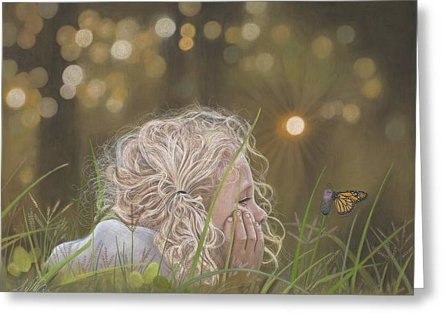 Precious Paintings Greeting Cards - The Butterfly Greeting Card by Terry Kirkland Cook