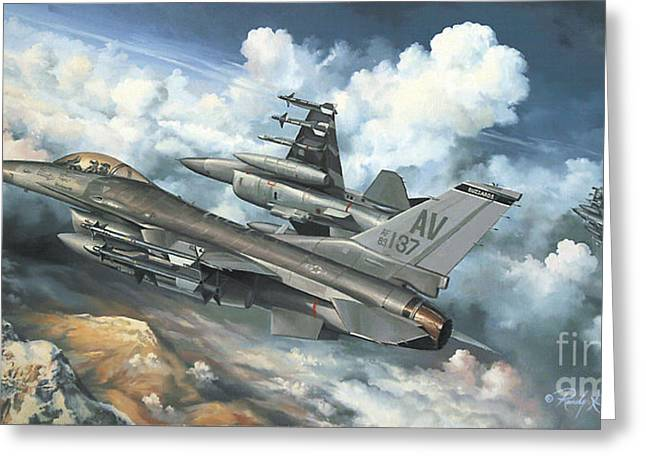 Flight Drawings Greeting Cards - The Buzzard Boys From Aviano Greeting Card by Randy Green