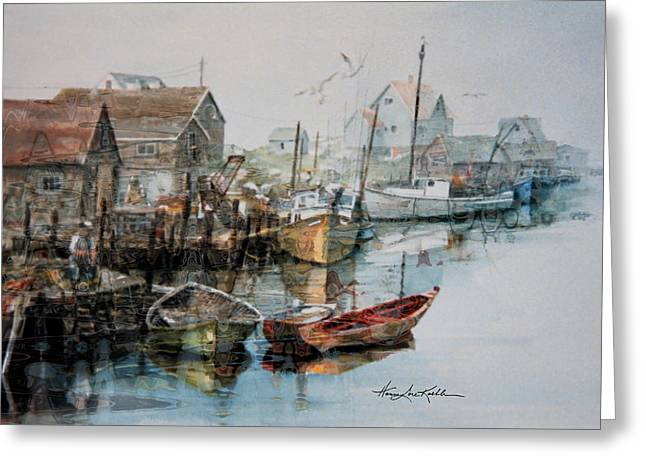 Village By The Sea Greeting Cards - The By That Catches The Fish Greeting Card by Hanne Lore Koehler