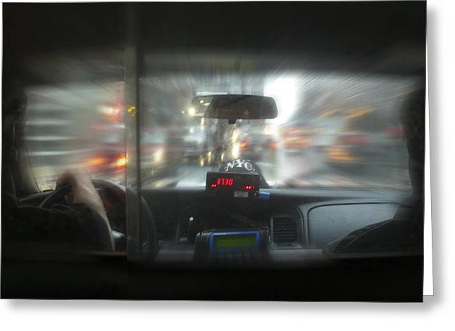 Taxi Greeting Cards - The Cab Ride Greeting Card by Mike McGlothlen