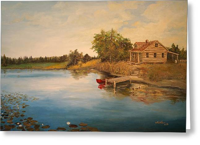 Canoe Greeting Cards - The Cabin Greeting Card by Alan Lakin