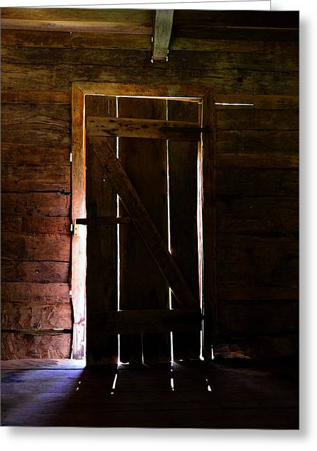 Old Cabins Greeting Cards - The Cabin Door Greeting Card by David Lee Thompson
