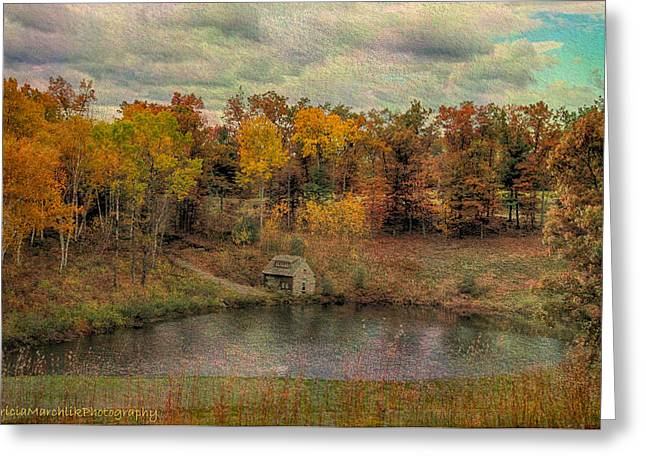 Barn Door Greeting Cards - The Cabin in Fall Greeting Card by Tricia Marchlik