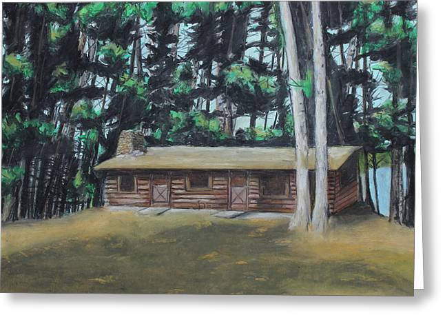 Historic Home Pastels Greeting Cards - The Cabin Greeting Card by Jeanne Fischer