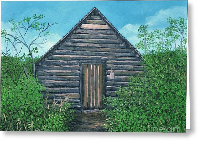 Mountain Cabin Paintings Greeting Cards - The Cabin that Hans Built Greeting Card by Reb Frost