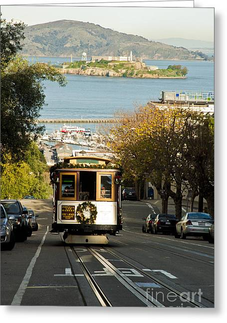 The Cable Car And Alcatraz Greeting Card by Micah May