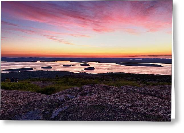 The Cadillac Mountain Sunrise Club Greeting Card by Jeff Sinon